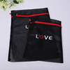 New foldable mesh bag clothing embroidery laundry mesh bag mesh black bag