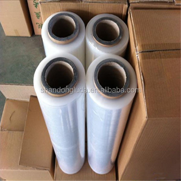 Alibaba supplier clear hand and mechanical LLDPE plastic stretch wrapping film