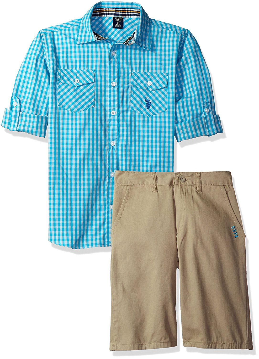 U.S. Polo Assn. Boys' Big Long Sleeve Gingham Check Woven Shirt and Twill Short