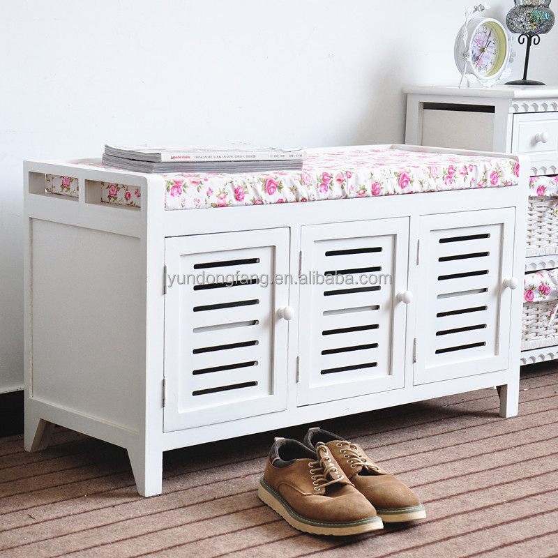 Cottage Decoration Furniture Small Fresh Entryway Or Hallway Sitting Stool Shoes Storage Bench
