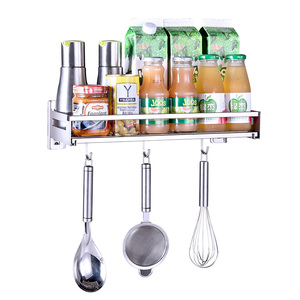 New popular Dish Rack Nail-free Hanging kitchen shelf Wall Hanging Sauce Bottle Storage rack