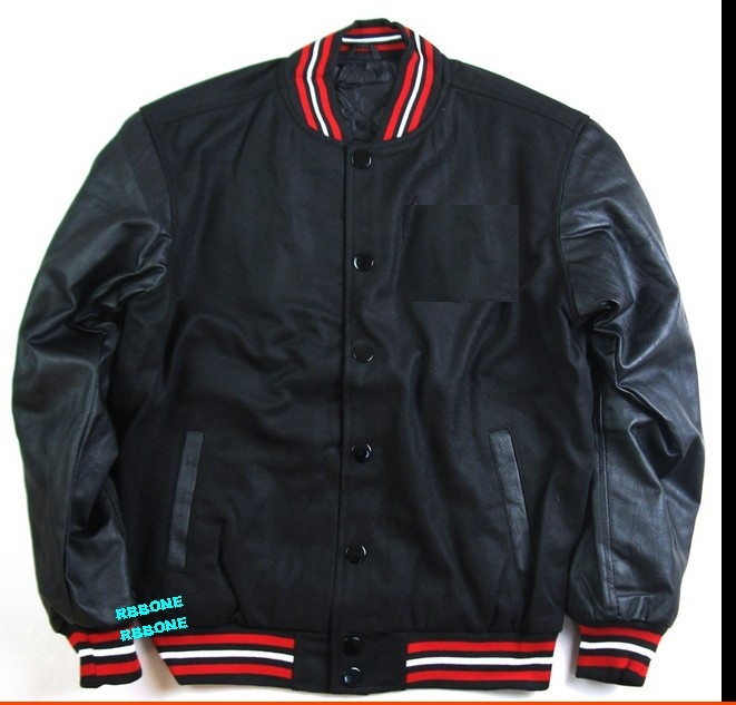 Leather jacket with cloth sleeves