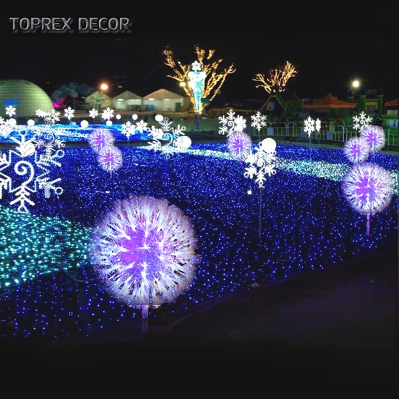 Toprex Decor New Products 2018 Led Fiber Optic Artificial Dandelion Flower Light For Garden Outdoor Lighting Decoration Plastic
