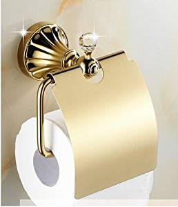ZWBD Luxury Golden Finish Toilet Paper Holder Crystall Wall Mount Bathroom Accessory,Bronze,Black