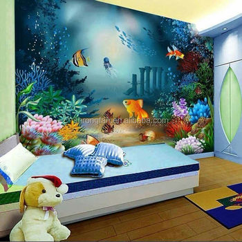 Custom Printing Beautiful Ocean World Aquarium Wall Murals For Baby