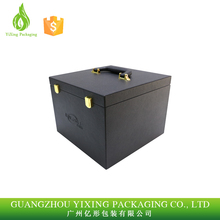 Black PU leather jewelry packaging box/ cosmetic box wholesale