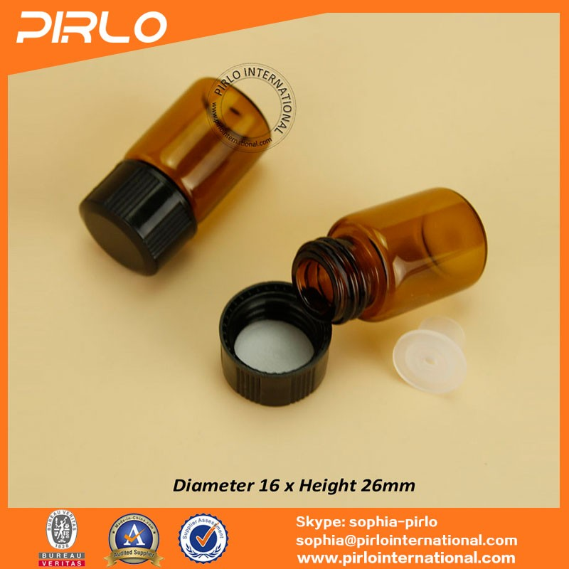 1ml 2ml 3ml screw on amber glass vial with orifice reducer and cap 1/4 dram 5/8 amber vial essential oil sampler use glass vials