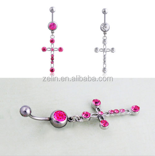 Opal Rainstone Body Navel Jewelry Cross Evil Driven Hanging Belly Rings Fake Dangling belly Button Ring