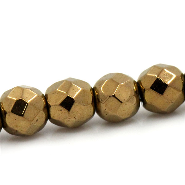 High Quality Round Gold Plated Faceted 3mm Dia Ball Hematite Loose Beads