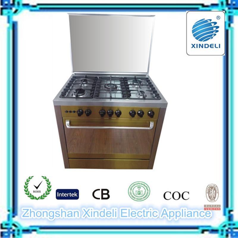 Golden body free standing gas cooking range with cast iron pan support
