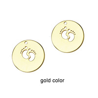 feet print round disc charm pendant foot Stainless steel add on round disc baby feet new mom charm 22mm