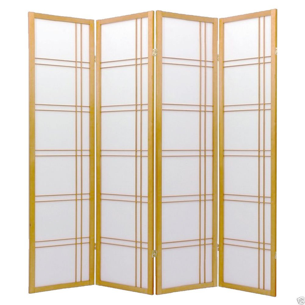 1PerfectChoice 4 Folding Panels Wood Shoji Room Divider Screen Oriental Traditional Line Option Color Natural