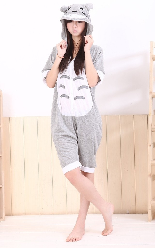 Get Quotations · 2015 Fashion Adult Summer Anime Totoro Onesie Cos Unisex Women  Men Pajamas Cotton Mesh Sleepwear 4fc36252a