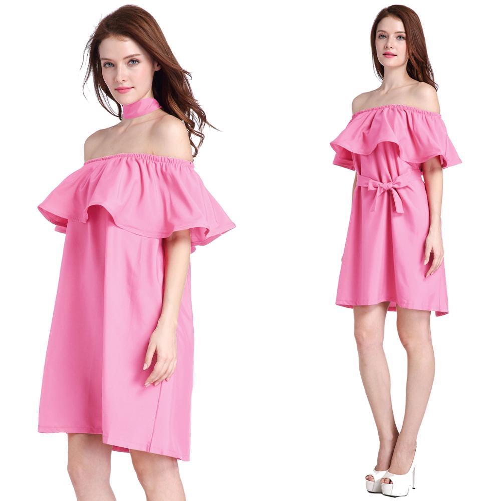 2017 señora moda vestido nuevo verano Rosa verde rojo blanco 5 ...