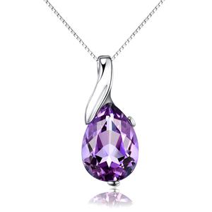 A050 elegant pear cut amethyst crystal pendant for ladies