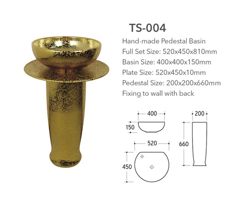 Cheap brown hand-made three-piece basin with pedestal