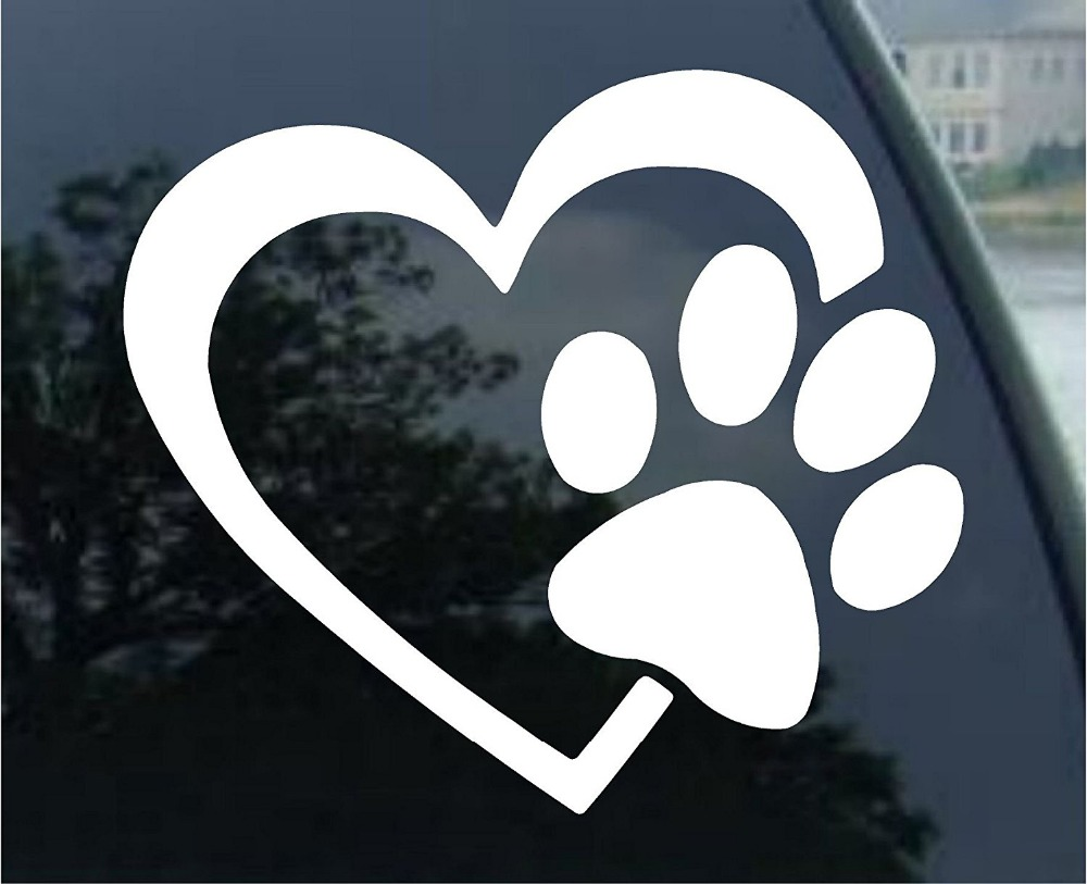 Corazón con la pata del perro Puppy Love vinilo Decal Car Sticker