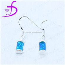 925 silver blue opal jewelry fish hook blue opal jewelry rhodium platted earring