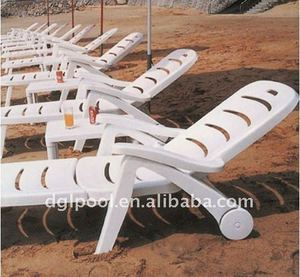 Outdoor plastic lounge chair Beach sun bed