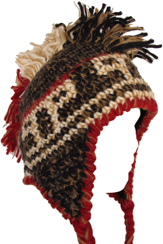 eeb534a5054 Get Quotations · Black   Brown   Red   Tan Knit Mohawk Pilot Hat Winter