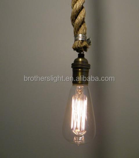 Rope Pendant Light- Modern Industrial Chandelier- Rustic Lighting ...