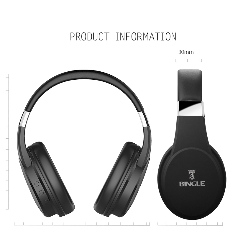 Bingle Fb110 Noise Isolation Overear Wireless Bluetooth Ear Phone Made In China