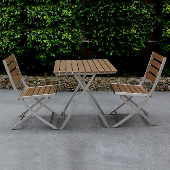 Hot sale Garden restaurant dining tables chairs polywood Outdoor Patio plastic wood bistro fold table and chairs
