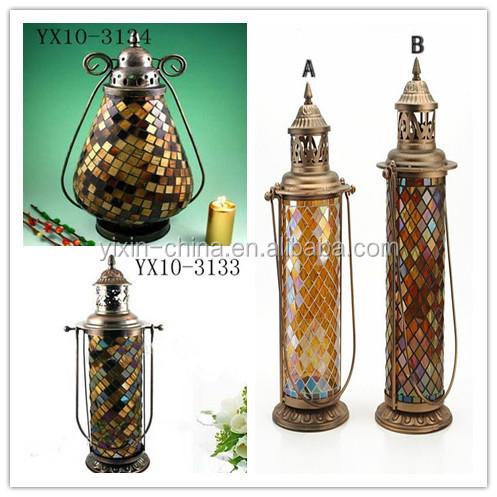 Garden Candle Lanterns. Handmade Glass Hanging Mosaic Outdoor Candle Lantern,wall  Lantern,metal