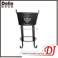 Black new design galvanized ice bucket with stand