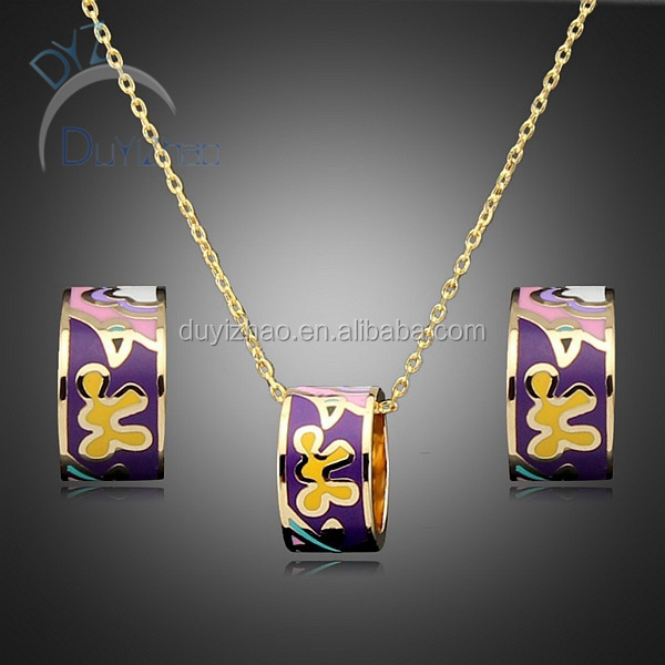 costume jewelry earrings/fashion necklace pendent enamel jewelry set