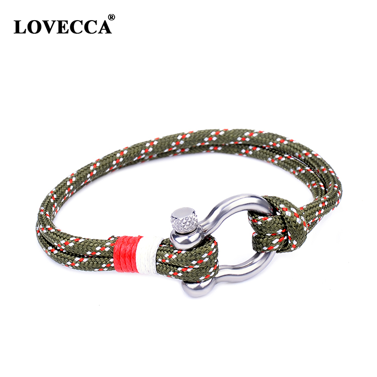 Wholesale fashion new men nylon rope bracelet with adjust clasp