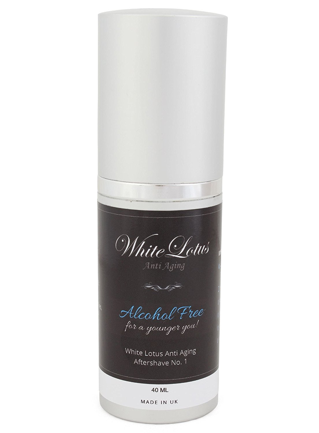 Alcohol Free Aftershave For Men- All Natural Aftershave Lotion No.1 by White Lotus Anti Aging. Natural Alcohol Free Cologne of Attar Oil- Less Dry Skin For Less Wrinkles, Redness & Soreness- 40mL