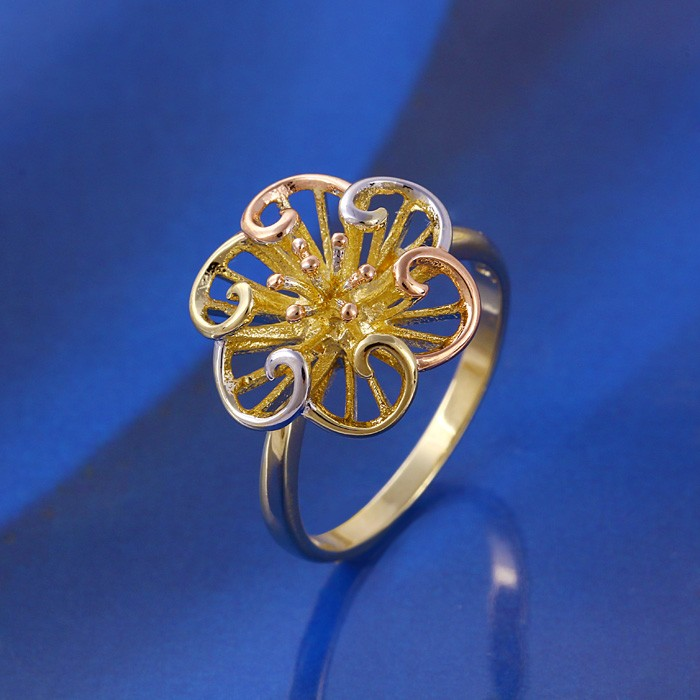 11422 China wholesale xuping fashion jewelry multicolor gold ring flower designs alloy 2016 ring