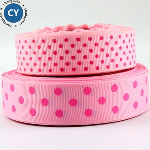 2019 most popular wholesale 38mm pink double sided printed polka dot grosgrain ribbon
