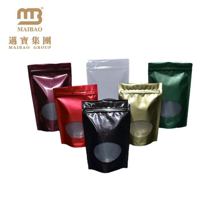अनुकूलित दौर नीचे के माध्यम से देखें खिड़की प्लास्टिक जिपर कॉफी बैग/काले कॉफी पाउच
