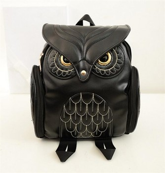 Hot sale fashion korean travel preppy style pu leather cartoon owl backpack for girls
