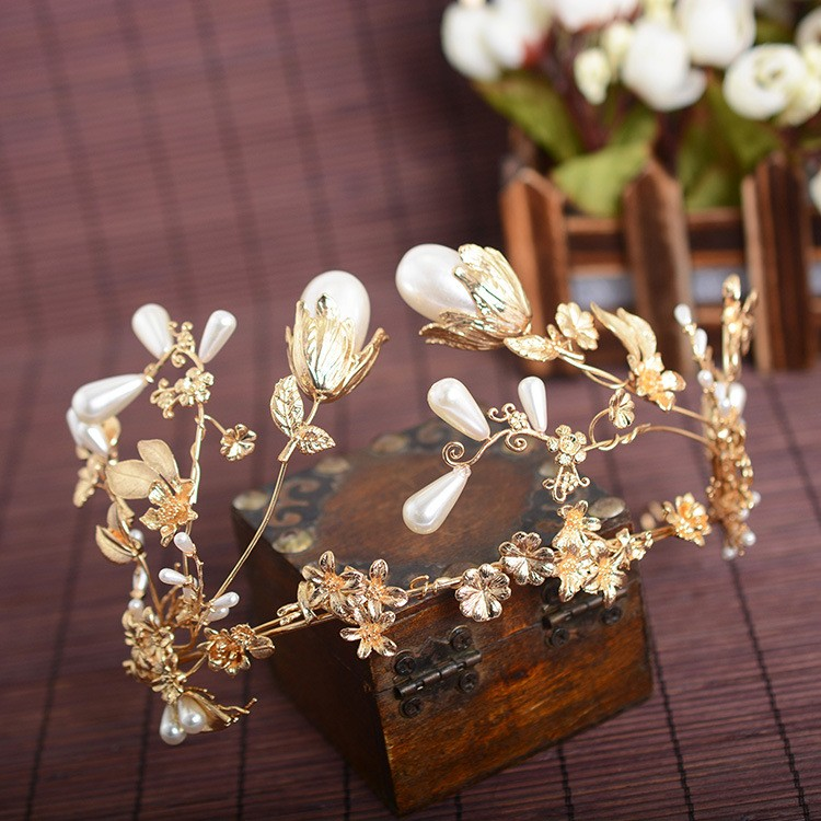Queena Korean Style Retro Luxury Golden Leaves White Pearl Bridal Crown