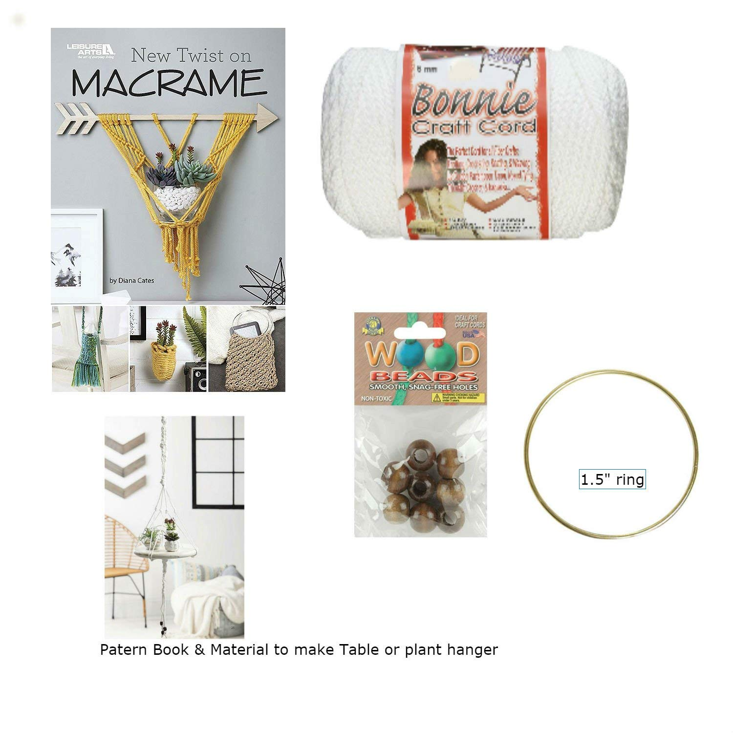 "Macrame kit Bundle for Hanging Table or Plant Hanger with Macrame Cord, Wooden Beads, Brass Rings, and ""The New Twist on Macrame"" Booklet"