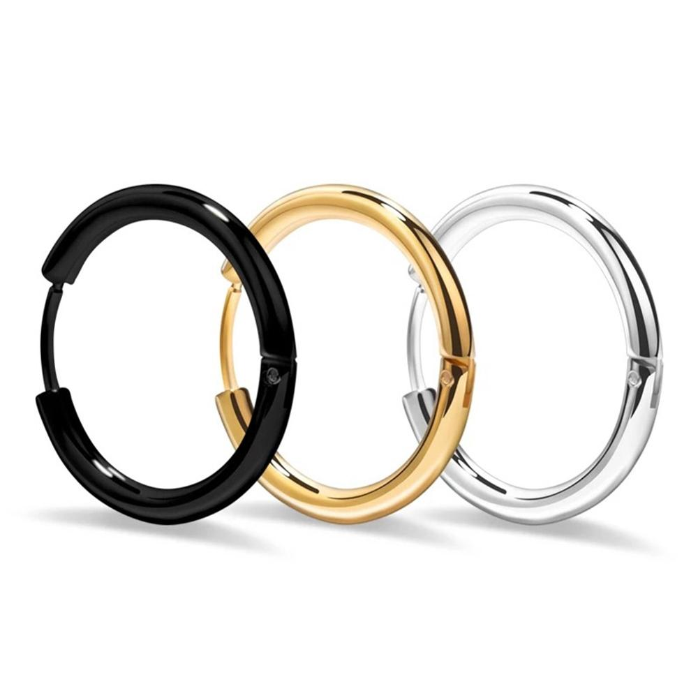 Hot Sale Stainless Steel Anti Allergy Black 2 mm Thickness Endless Hoop Earrings