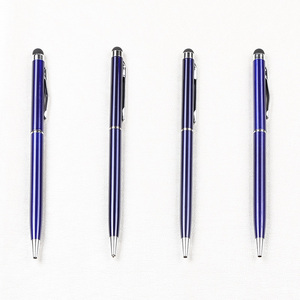 2 in 1 multi functional mobile touch screen noble blue metal ball pens for company gifts
