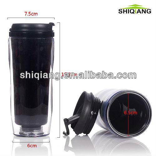 350ml promotional plastic mug DIY mug with leakproof lid and with removeable 4C paper inserted advertisement cup advertising cup