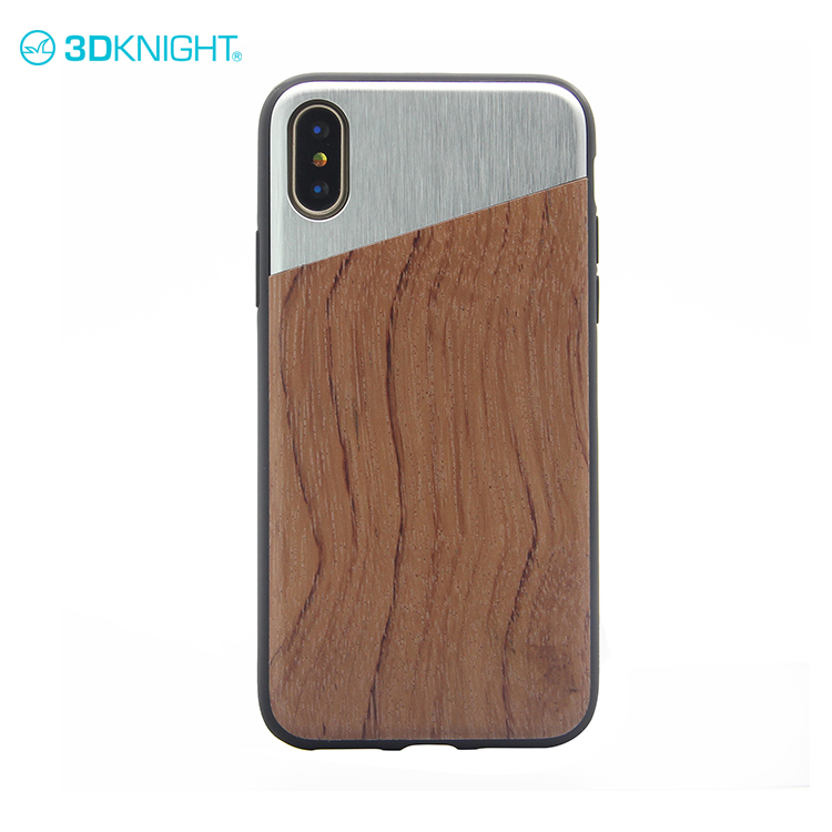 Alloy man & wood hardcase for iphone X hard case cover glossy for smartphone