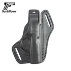 Leather Belt Loop Holster 2 Slot OWB Gun Pouch for Walther PPK