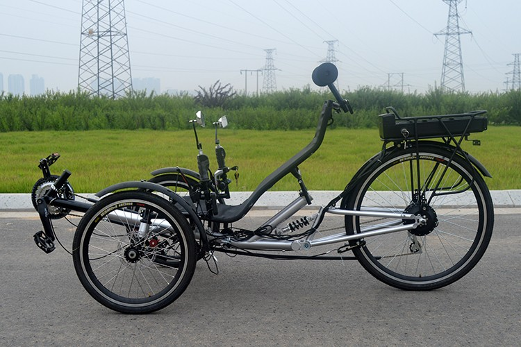 High performance electric delta recumbent trike outdoor for Recumbent bike with electric motor
