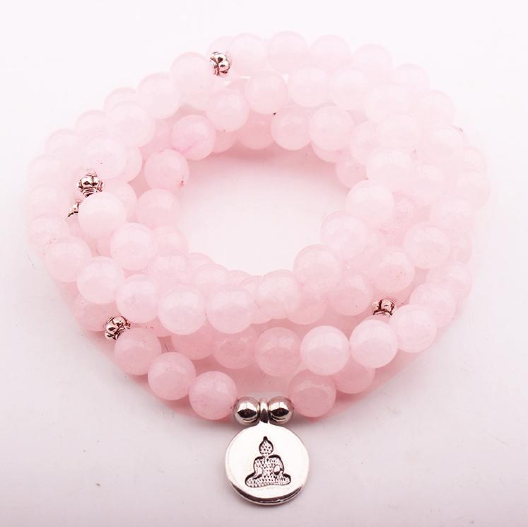 Mala Necklace Bracelet Rose Quartz Obsidian Pink Crazy Lace Agate Chakra Meditation Yoga