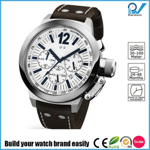 Build your watch brand easily man sport stainless steel watch case multi-functional japan movement with calendar