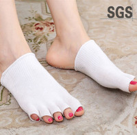 China Fctory Five Finger Open Toe Gel Socks Gel- Lined Compression Toe Separating Socks Heel Pain Relief