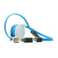Retractable noodles 2 in 1 usb cable with cover for iphone