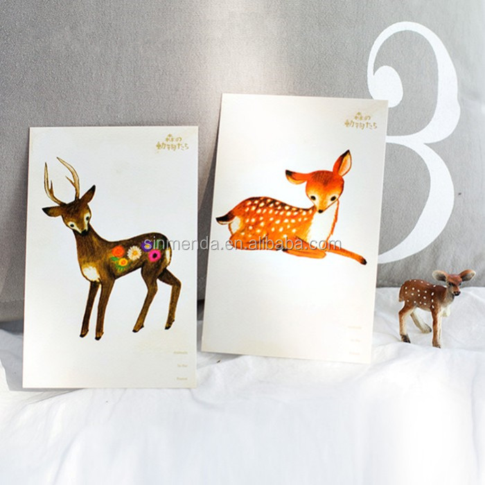 Custom size offset printing animal thank you greeting card with envelopes