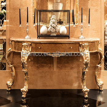 Classical Gilt Gold Leaf Hallway Console Table With Drawers, Exquisite Wood  Carved Furniture Queen Anne
